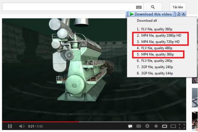 Nên chọn download những MP4 ( trong khung màu đỏ để thuận tiện khi chèn vào PP