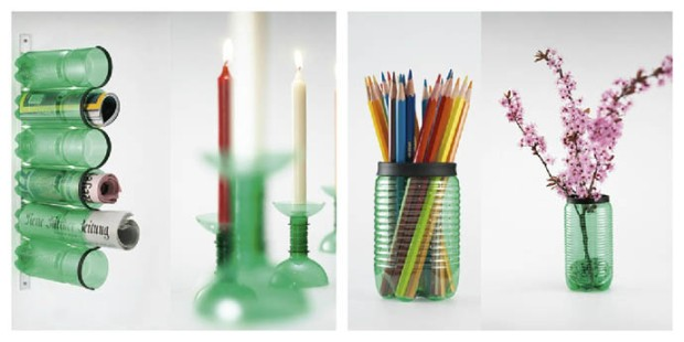 Giá để sách, chân nến, lọ hoa, ống cắm bút làm từ vỏ chai