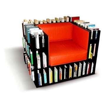 Kệ sách thiết kế theo viền ghế sopha, phù hợp cho những ai ít đi xa, đọc và cất tại chỗ