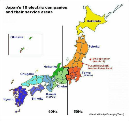 Bản đồ các công ty điện lực tại Nhật và sự khác nhau về tần số dòng điện giữa đông và tây