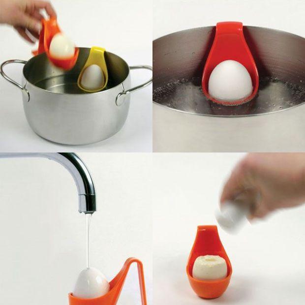 Một cải tiến để luộc trứng, rửa trứng và ăn trứng khi nóng.