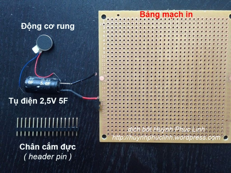 Vật tư để thực hiện robot côn trùng. Ảnh: http://www.instructables.com