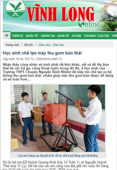 Bài đăng ở báo Vĩnh Long